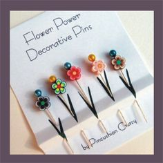 Decorative Sewing Pins - Embellishment Pins - Flower Sewing Pins - Flower Power - Flower Pins - Sewing Supplies - Gift for Sewers Quilters Retreat Gifts, Biscuit, Cat Pin, Stick Pins, Origami, Sewing Accessories, Pin Cushions, Sewing Crafts, Sewing Kits