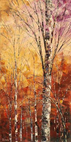 Abstract Forest Painting Palette Knife Art Handmade by TatianasART