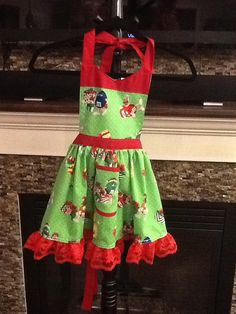 Christmas M & M Girls apron No 197 by MothersApronString on Etsy
