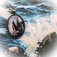 Handmade Antique Bronze Sailboat Pendant Necklace designed from a painting I painted for my mother in memory of my USCG brother  available on Etsy https://www.etsy.com/shop/BridgetMarnet #etsyjewelry #etsyshop #EtsySeller please Share and repin thank you!