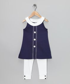 Look at this A. by Allen Schwartz Navy Tiffany Tunic & White Leggings - Girls by A. by Allen Schwartz Cute Girl Outfits, Toddler Girl Outfits, Kids Outfits, Tunic Leggings, Girls In Leggings, Little Girl Fashion, Kids Fashion, Fashion Outfits, Oakley