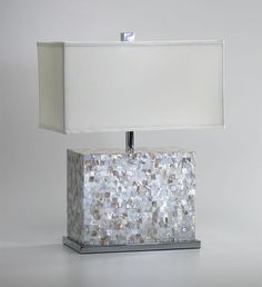 Mother of Pearl Tile Rectangle Table Lamp