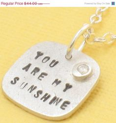 You are my SUNSHINE necklace BIRTHSTONE by ChocolateAndSteel, $35.20