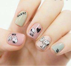 Cute Nail Art, Cute Nails, Diy Nails, Disney Acrylic Nails, Cute Acrylic Nails, Stylish Nails, Trendy Nails, Snoopy Nails, Mickey Nails