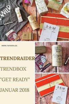 """Die TrendRaider TrendBox """"Get Ready"""" Januar 2018 Ausgabe hat tolle Naturkosmetik und Beauty Produkte zu bieten. Außerdem ausgewähltes Essen und DIY Produkte - eine tolle Box! Das volle Unboxing gibt es auf meiner Seite."""