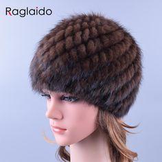 Raglaidoニットミンクの毛皮の帽子本物の天然毛皮パイナップルキャップ冬の雪のビーニー帽子ロシアリアルファー帽子LQ11191
