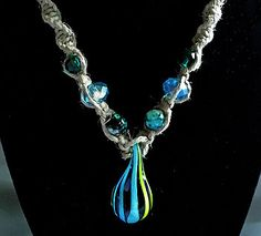 Handmade Blue and Green Teardrop Glass Pendant Hemp Necklace with Blue and Green Beads