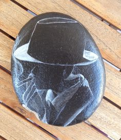 #man in black #painted rock #pebble #stones #acrylics #N4Joy