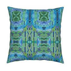 Catalan Throw Pillow featuring TIBET INSPIRATION  BLUE SKY AND RIVERS AND TREES…