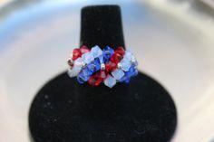 Fourth of July Swarovski Crystal Wrap Ring Red by HandmadeJILLry, $27.00