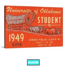 Row One Brand. Home of Row One™ sports gifts. OU Sooners gifts. Oklahoma Sooners man cave art. OU Sooners Father's Day Gifts. 1949 OU Sooners football ticket art on canvas. Bud Wilkinson's Sooners went undefeated. #BoomerSooner #Oklahoma #Sooners #gifts #Row1