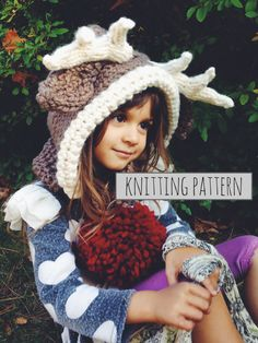 PATTERN for Reindeer Hat Rudolph Hood Cowl Scarf Knit Toddler Child Adult // Rudolph the Reindeer Hood PATTERN