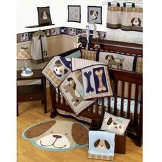 And if baby is a little boy. Sumersault Show Doggies 4 Piece Crib Bedding Set Baby Boys, Baby Boy Rooms, Baby Boy Nurseries, Baby Cribs, Our Baby, Room Boys, Dog Rooms, Child's Room, Dog Nursery
