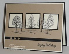 handmade birthday card ... Lovely as a Tree ... neutral colors ... great use of trees moving on and off matted squares ... great card ... Stampin' Up!