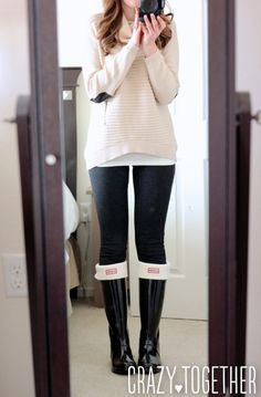 StitchFix Stylist:  I WANT THIS SWEATER! I love the cowl neck, the cream color, and the elbow patches.  It looks fantastic with the black leggings and hunter boots.  I need this in my life!
