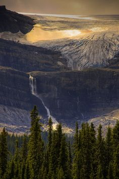 Bow Glacier Falls is the waterfall draining the rapidly receding Bow Glacier, which feeds Bow Lake -Banff National Park, Canada.