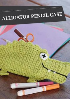 Crochet  this Alligator Pencil Case for the kids this fall for back to school. They'll be the hit of the class!