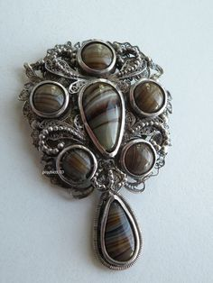 Antique Scottish Victorian Sterling Silver Filigree Indigenous Stone Brooch Pin