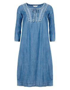 Tencel® Embroidered Neckline Denim Tunic Dress | M&S