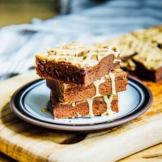 Chocolate espresso brownies with rivulets of criss-crossed espresso glaze!
