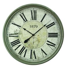 Yosemite Home Decor 31.5 in. x 31.5 in. Circular MDF Wall Clock with Glass in Wooden Gray Frame-CLKC1014 - The Home Depot