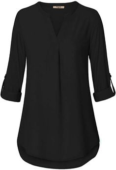 Timeson Women's Casual Chiffon V Neck Cuffed Sleeve Blouse Tops at Amazon Women's Clothing store