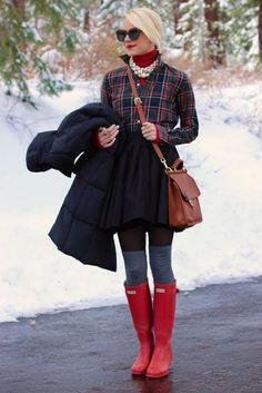 skirt, tights, socks, wellies, plaid.