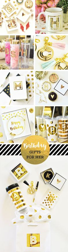 Unique Birthday Gifts for Women - Mom, Daughter, Sister, Best Friend, Wife and more!  Pretty gold personalized gifts they will love!  by Mod Party