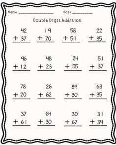 Double digit addition without regrouping. Perfect for practice or assessment.Check out my double digit subtraction. 2nd Grade Math Worksheets, Addition Worksheets, Money Worksheets, School Worksheets, Math Doubles, Math Sheets, Second Grade Math, Grade 2, Snakes