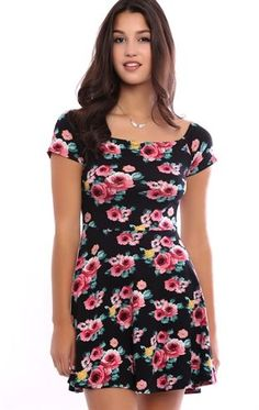 Deb Shops Off the Shoulder Skater Dress with Rose Print $16.87
