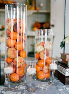 wedding decoration with oranges / http://www.deerpearlflowers.com/orange-wedding-color-ideas/