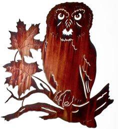 """22"""" Sitting Owl on Maple Leaves www.rusticeditions.com"""
