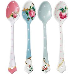 Cottage Kitchen Necessities...Royal Albert New Country Roses Vintage Mix Set of 4 Ceramic Spoons found on Polyvore
