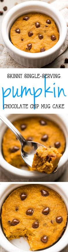 The BEST Skinny Single-Serving Pumpkin Chocolate Chip Mug Cake -- an easy recipe that's practically healthy enough for breakfast! Just 124 calories! (Chocolate Chip Pumpkin)