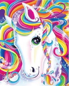 Lisa Frank Art -- We're sorry, but let's be real. but no one rivals the transcendence of the great Lisa Frank. Learn to paint and live as colorfully as our favorite childhood cartoonist. Unicorn Horse, Unicorn Art, Rainbow Unicorn, Magical Unicorn, Unicorn Painting, Rainbow Hair, Lisa Frank Unicorn, Unicorn Pictures, 5d Diamond Painting
