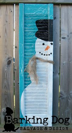 Happy Holidays! Mr. Snowman Shutter: Hand-painted and custom designed by Barking Dog Salvage & Design https://www.facebook.com/BarkingDogSalvageAndDesign