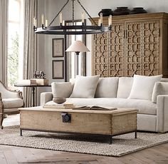 These 20 amazing living rooms inspired by Restoration Hardware are the perfect mix of class and relaxation. New Living Room, Living Room Interior, Home And Living, Living Room Furniture, Home Furniture, Living Room Decor, Wooden Furniture, Furniture Dolly, Cozy Living