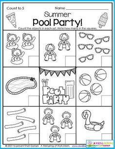 Who can resist going for swim in the summer? And let's just notch that up a bit by having a pool party! Kids count the number of people or objects at the party and write how many in the boxes. Great for counting to 5 practice. You'll find this page in my August Counting Worksheets set. It includes counting to 5, counting to 10, number tracing, color by number worksheets and plenty more. Thanks! Counting Worksheets For Kindergarten, Summer Worksheets, Counting For Kids, Kindergarten Math, Kids Count, Number Tracing, Learn To Count, Summer Pool Party, Objects