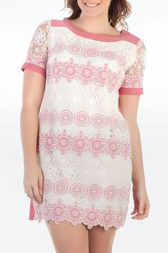 EXXPOSE Lace All Over Dress in Coral - Beyond the Rack