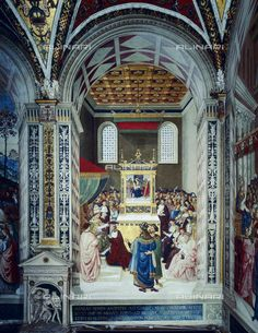 Enea Silvio Piccolomini receiving the cardinal's cap from Pope Callistus III, fresco by Pinturicchio, in the Piccolomini Library, Cathedral of Siena, 2002, Alinari Archives, Florence