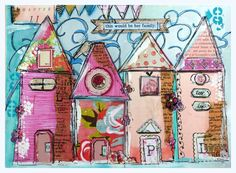 Art Print Collage Work Whimsical HousesHer by cathymichaelsdesign