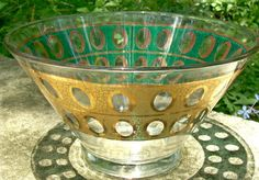 "50.00 Culver Glass ""Piza"" Bowl Green & Gold Crackle 10 5/8""D Mid-Century"
