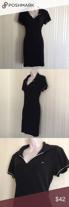 TOMMY HILFIGER black dress NEVER WORN Cute and flirty black Tommy dress with white piping at collar and sleeves.  Never worn.  Don't miss! Tommy Hilfiger Dresses
