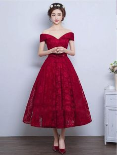 0e920ed224e Exquisite Satin Tea Length Lace Burgundy Off Shoulder Prom Dresses