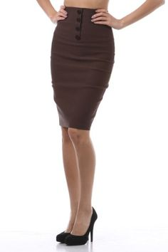 Amazon.com: High Waist Slimming Button Panel Business Office Knee Length Pencil Skirt S M L: Clothing