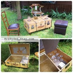Unique Piece Big Wooden Vintage Trunk Repurposed As A Coffee Table With Vintage…