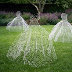 ghosts  Here's a recipe for some really cool yard ghosts. Take some chicken wire (you can find it at your local home improvement store) and shape it into several ballroom dress shapes. They already look pretty ghostly at a distance. Then, to really put 'em over the top, spray paint them with glow-in-the-dark paint.  Then wait until the sun goes down.  Boom.