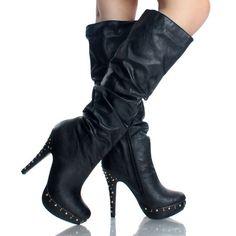 Studded Steampunk Goth Tall Heel Knee High Boots