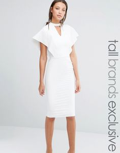 Alter+Tall+Flutter+Sleeve+Bodycon+Dress+With+Keyhole+Detail