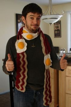 Crochet Bacon and Eggs scarf. My husband says he would wear this... Of course there is no pattern so I'll have to figure it out.